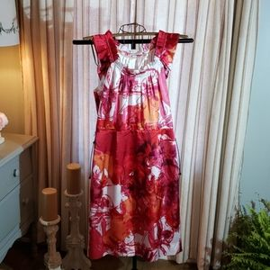 TAHARI Floral Dress Pink Red Size 10